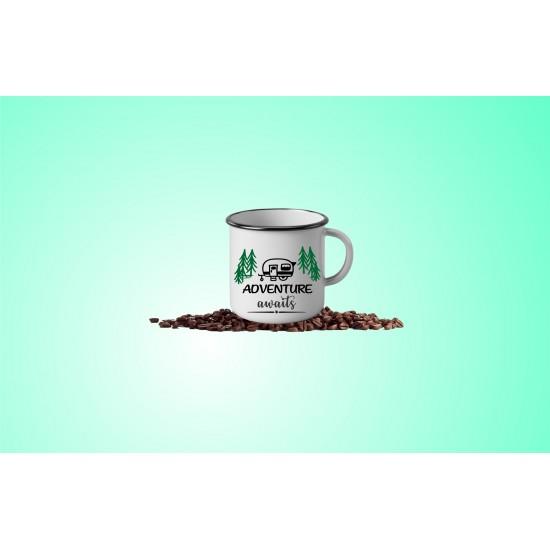 13 oz. Ceramic Camper Mug - White with Black Lip